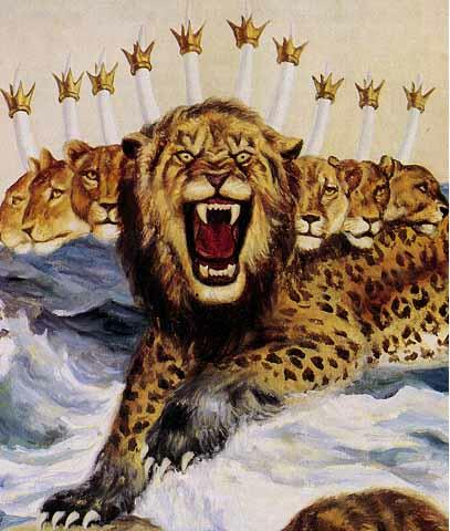 Beast 7 Heads, Ten Horns, Ten Crowns, Like leopard, Mouth of Lion, Feet of Bear